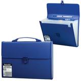 Портфель пластиковый BRAUBERG, А4, 332х245х35 мм, 13 отделений, текстура, пластиковый индекс, темно-синий, 221379