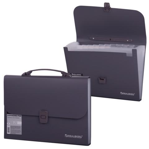 """Портфель пластиковый BRAUBERG """"Comfort"""" (БРАУБЕРГ """"Комфорт""""), А4, 327х254х30 мм, 13 отделений, пластиковый индекс, темно-серый, 221438"""