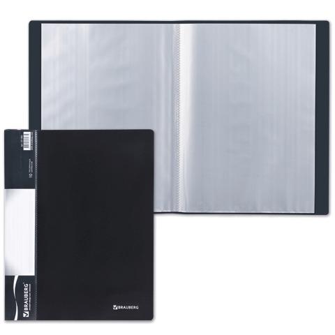 Папка  10 вклад. BRAUBERG Стандарт, черная, 0,5мм, 221592