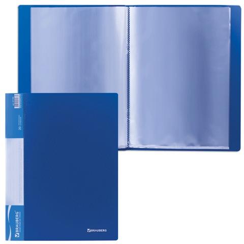 Папка 20 вкладышей BRAUBERG (БРАУБЕРГ) стандарт, синяя, 0,6 мм, 221595