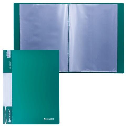 Папка  30 вклад. BRAUBERG Стандарт, зеленая, 0,6мм, 221597