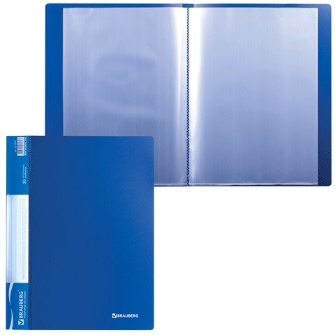 Папка 30 вкладышей BRAUBERG (БРАУБЕРГ) стандарт, синяя, 0,6 мм, 221599