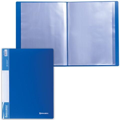 Папка 40 вкладышей BRAUBERG (БРАУБЕРГ) стандарт, синяя, 0,7 мм, 221603