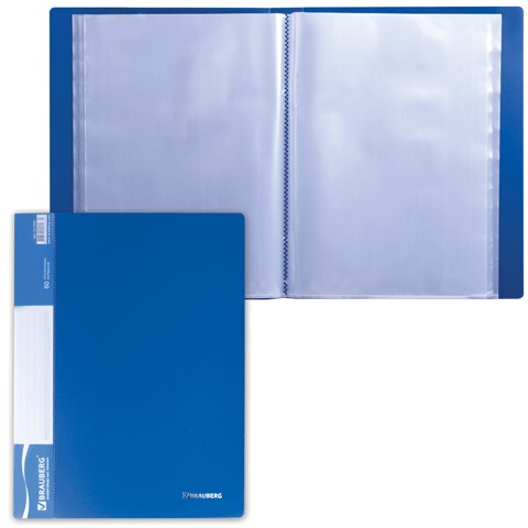 Папка 60 вкладышей BRAUBERG (БРАУБЕРГ) стандарт, синяя, 0,8 мм, 221605