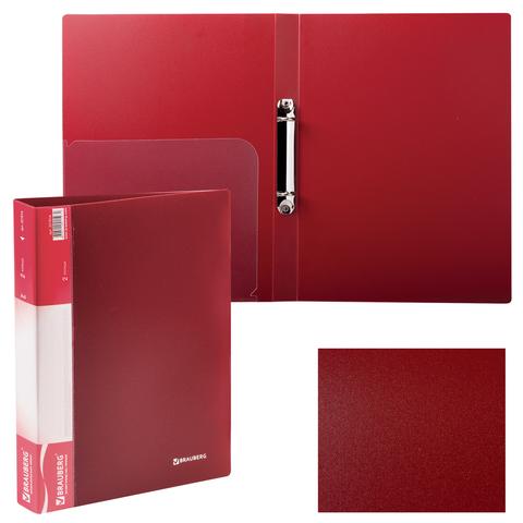 Папка на 2 кольцах BRAUBERG (БРАУБЕРГ), стандарт, 25 мм, красная, до 120 листов, 0,8 мм, 221614