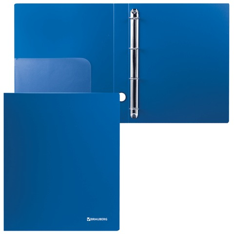 Папка 4 кольца BRAUBERG Стандарт, 40мм, синяя, до 250 листов, 0,9мм, 221619