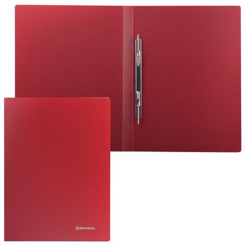 Папка с металлическим скоросшивателем BRAUBERG (БРАУБЕРГ) стандарт, красная, до 100 листов, 0,6 мм, 221632