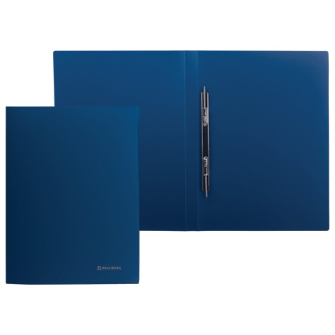 Папка с металлическим скоросшивателем BRAUBERG (БРАУБЕРГ) стандарт, синяя, до 100 листов, 0,6 мм, 221633