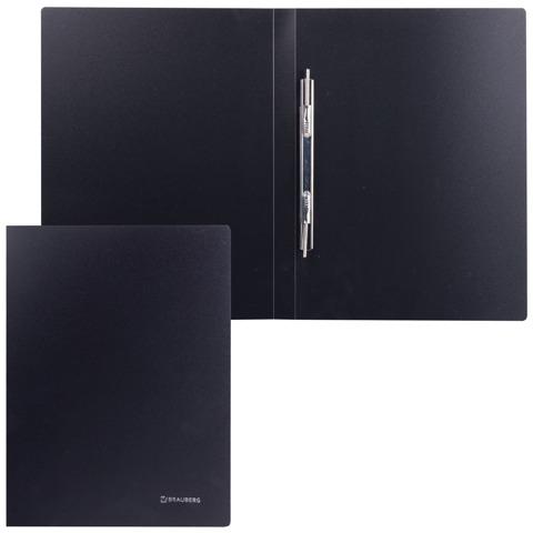 Папка с металлическим скоросшивателем BRAUBERG (БРАУБЕРГ) стандарт, черная, до 100 листов, 0,6 мм, 221634