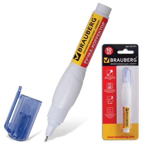 Ручка-корректор BRAUBERG (БРАУБЕРГ), 10 мл, металлический наконечник, в блистере, 221751
