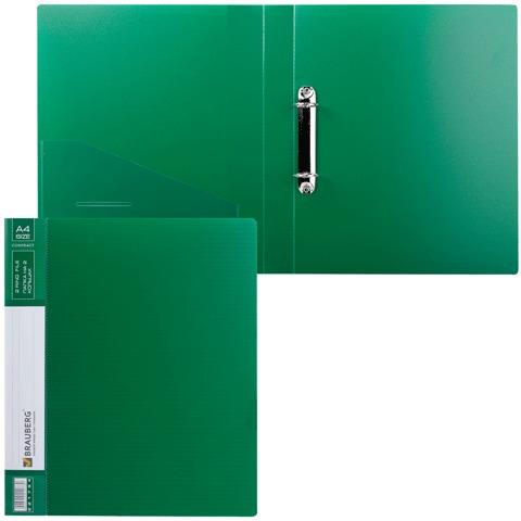 """Папка на 2 кольцах BRAUBERG """"Contract"""" (БРАУБЕРГ """"Контракт""""), 35 мм, зеленая, до 180 листов, 0,9 мм, 221794"""