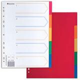 Разделитель пластиковый BRAUBERG, А4, 5 листов, по цветам, оглавление, Китай, 221846