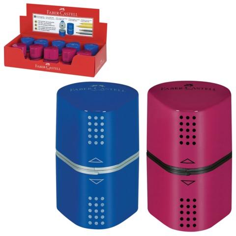 """Точилка FABER-CASTELL (Германия) """"TRIO GRIP 2001"""", 3 отверстия, с контейнером, ассорти (красный, синий), 183801"""