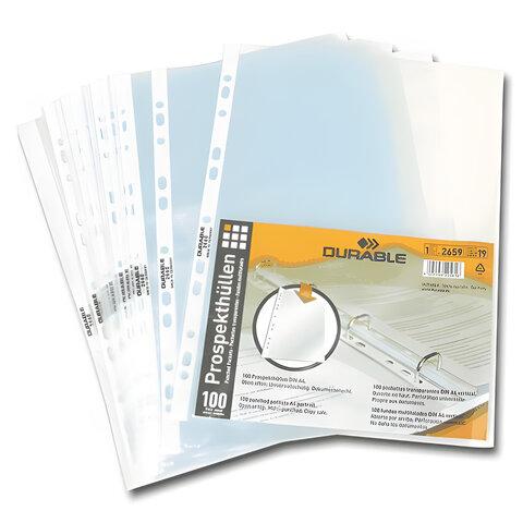 """Папки-файлы перфорированные, А4, DURABLE (Германия), комплект 100 шт., """"апельсиновая корка"""", 0,05 мм, 2659-19"""