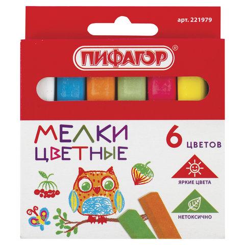 Мел цветной ПИФАГОР, набор 6 шт., квадратный, 221979