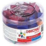 Зажимы для бумаг ОФИСМАГ, КОМПЛЕКТ 48 шт., 25 мм, на 100 листов, цветные, в пластиковом цилиндре, 222091