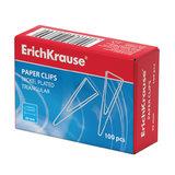 Скрепки ERICH KRAUSE, 25 мм, металлические, треугольные, 100 штук, в картонной коробке, 24869