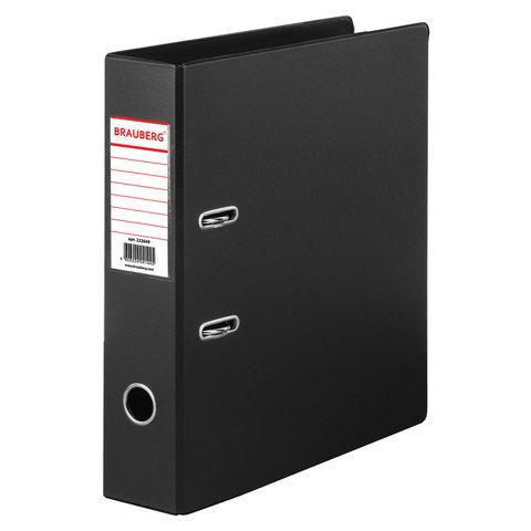 Папка-регистратор BRAUBERG с двухсторонним покрытием из ПВХ, 70 мм, черная, 222649