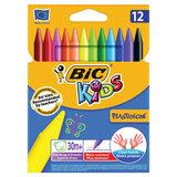 """Мелки пластиковые BIC """"Plastidecor"""", 12 цветов, ультрапрочные, круглые, картонная упаковка, подвес, 945764"""