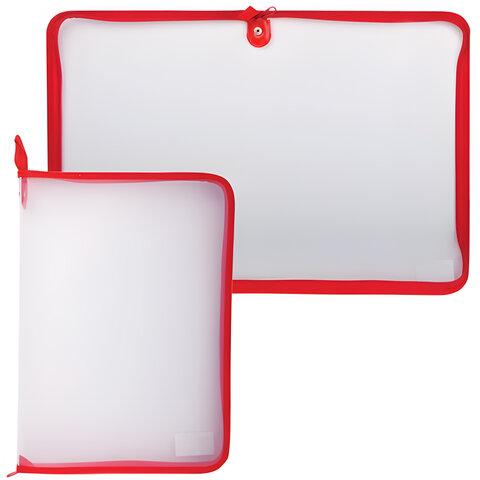 Папка на молнии пластиковая, А4, прозрачная, размер 320х230 мм, ПМ-А4-01/01