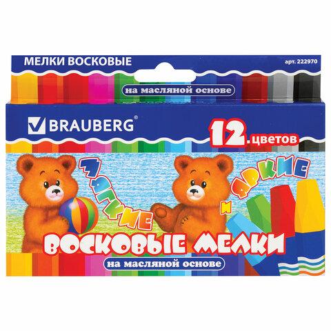 Восковые мелки утолщенные BRAUBERG/ПИФАГОР, 12 цветов, на масляной основе, яркие цвета, 222970