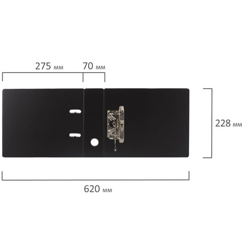 Папка-регистратор МАЛЫЙ ФОРМАТ (148х210 мм), А5, 70 мм, ГОРИЗОНТАЛЬНАЯ, двухстороннее покрытие, ПВХ, черная, BRAUBERG, 223190