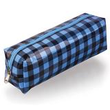 Пенал-косметичка BRAUBERG, пвх, голубой-черный, клетка, 20х6х5 см, 223271