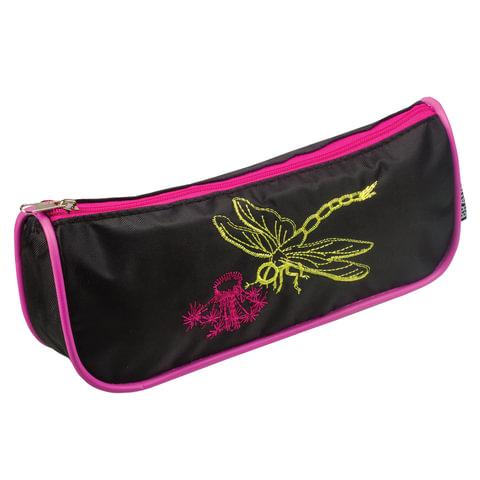 "Пенал-косметичка BRAUBERG, полиэстер, черно-розовый, ""Стрекоза"", вышивка, 21х4х8 см, 223272"
