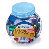Зажимы для бумаг BRAUBERG, комплект 19 мм/15 шт., 25 мм/10 шт., цвет металлик, в пластиковой банке, 223511