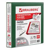 Папка на 4 кольцах с передним прозрачным карманом BRAUBERG, картон/ПВХ, 65 мм, зеленая, до 400 листов, 223532