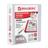 Папка на 4 кольцах с передним прозрачным карманом BRAUBERG, картон/ПВХ, 75 мм, белая, до 500 листов, 223535