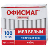 Мел белый ОФИСМАГ, антипыль, набор 100 штук, круглый, 223551
