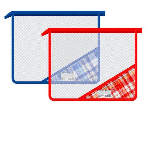 Папка для тетрадей BRAUBERG, А5, пластик, молния сверху, цветной уголок, ассорти, клетка, 223953