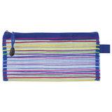 "Папка-конверт на молнии МАЛОГО ФОРМАТА (255х130 мм), сетчатая ткань, BRAUBERG ""Stripes"", 224048"