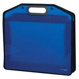 "Сумка пластиковая BRAUBERG ""Income"", А4, 370х340х110 мм, без отделений, тонированная, синяя, 224151"