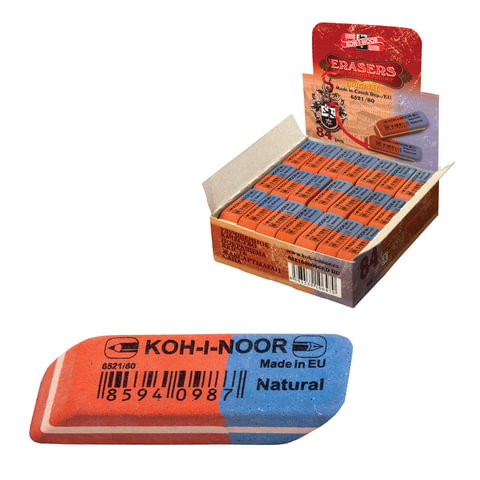 Ластик KOH-I-NOOR 6521/80, 42х14х8 мм, красно-синий, прямоугольный, скошенные края, натуральный каучук, 6521080006KDRU