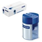 Точилка STAEDTLER (Германия), 2 отверстия, с контейнером, пластиковая, круглая, 512 001   03