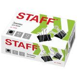 """Зажимы для бумаг STAFF"""" EVERYDAY"""", КОМПЛЕКТ 12 шт., 41 мм, 200 листов, черные, картонная коробка, 224609"""