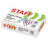 """Скрепки STAFF """"Manager"""", 28 мм, цветные, 70 шт., в картонной коробке, Россия, 224630"""