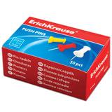 Силовые кнопки-гвоздики ERICH KRAUSE, цветные, 50 шт., в картонной коробке, 24877
