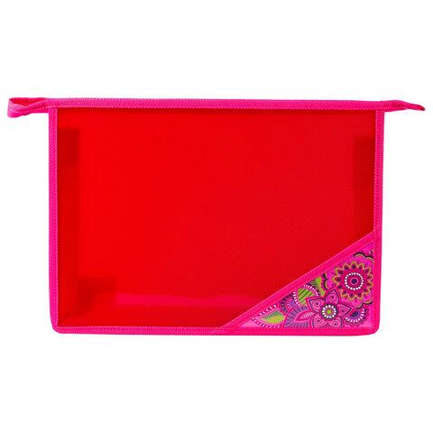 """Папка для тетрадей BRAUBERG, А4, пластик, молния сверху, цветной уголок, для девочек, """"Мечта"""", 224803"""