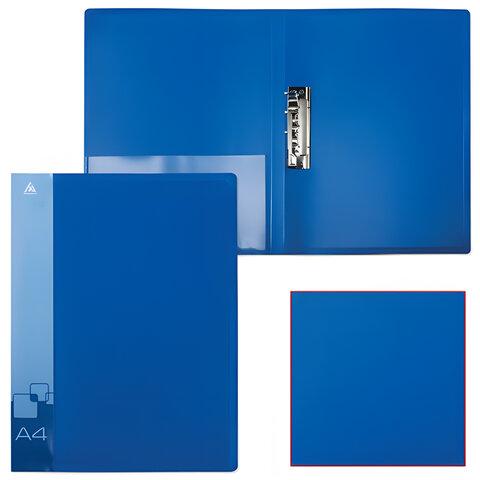 Папка с боковым металлическим прижимом и внутренним карманом БЮРОКРАТ, синяя, до 100 листов, 0,7 мм, PZ07Cblue