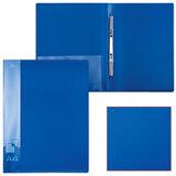 Папка с металлическим скоросшивателем и внутренним карманом БЮРОКРАТ, синяя, до 100 листов, 0,7 мм, PZ07Pblue