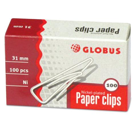 Скрепки, 31 мм, никелированные, с загнутым краем, треугольные, 100 шт., в картонной коробке, GLOBUS, С31-100Н