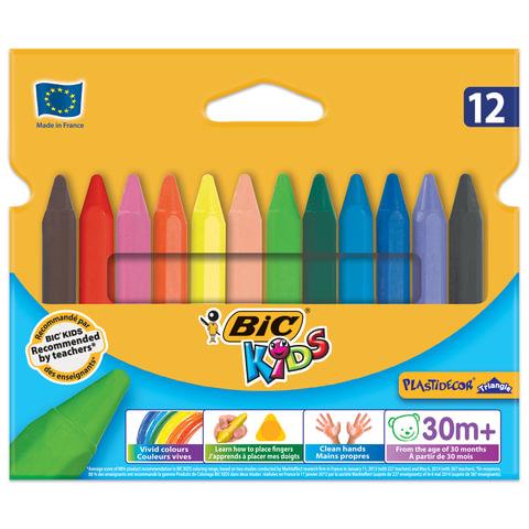 """Мелки пластиковые утолщенные BIC """"Plastidecor"""", 12 цветов, трехгранные, картонная упаковка, подвес, 829773"""