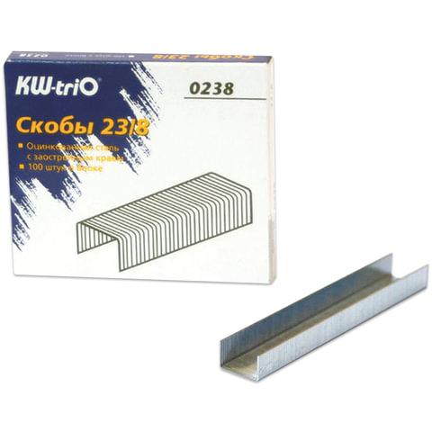 Скобы для степлера №23/8, 1000 штук, KW-trio, от 10 до 50 листов, 0238, -0238