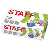 """Зажимы для бумаг STAFF """"Profit"""", КОМПЛЕКТ 12 шт., 32 мм, на 140 листов, цветные, картонная коробка, 225158"""