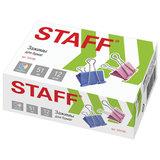 """Зажимы для бумаг STAFF """"Profit"""", КОМПЛЕКТ 12 шт., 51 мм, на 230 листов, цветные, картонная коробка, 225160"""