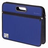 Сумка пластиковая BRAUBERG, А4+, 390х315х70 мм, на молнии, внешний карман, фактура бисер, синяя, 225167