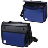 Портфель пластиковый BRAUBERG, А4+, 370х270х180 мм, на 2-х замках и ремне, бизнес-класс, 3 отделения, синий/черный, 225170